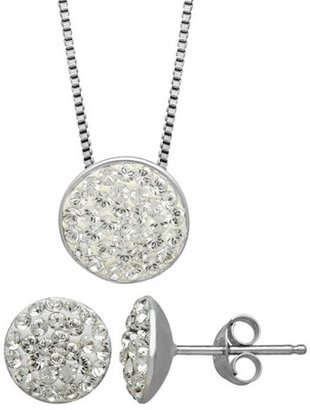 Women's Sterling Silver Pave Necklace And Earrings Set - Silver/Clear