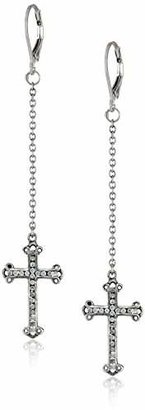 "King Baby ""Cross"" Ear Thread Traditional Cross with Pave Cubic-Zirconia Drop Earrings $245 thestylecure.com"