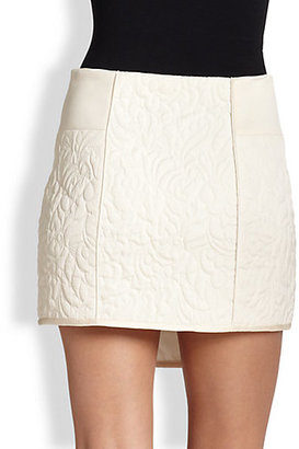 Tibi Quilted Floral Contour Skirt
