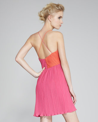 Phoebe Couture Two-Tone Plisse Dress