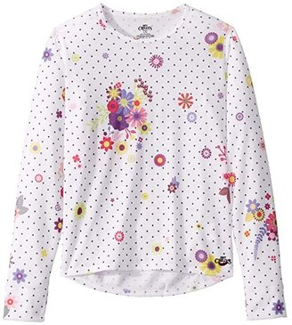 Hot Chillys Kids Midweight Print Crew (Little Kids/Big Kids) (Flirty) Girl's Clothing
