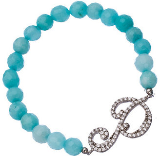 Cz Script Initial And Turquoise Beaded Stretch Bracelet