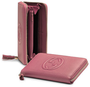 Gucci Soho Leather Zip-Around Wallet, Vintage Rose