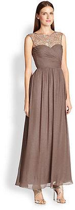 Aidan Mattox Metallic Silk Chiffon Gown