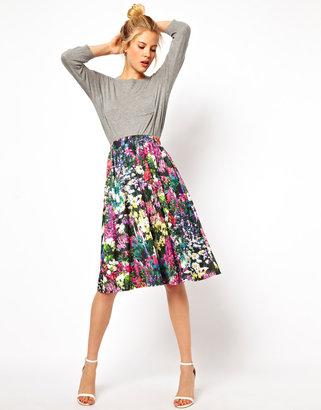 Asos Midi Skirt in Digital Floral Print
