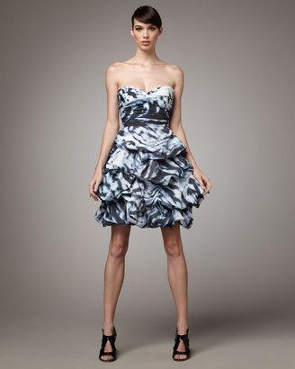 Monique Lhuillier Tufted-Skirt Cocktail Dress