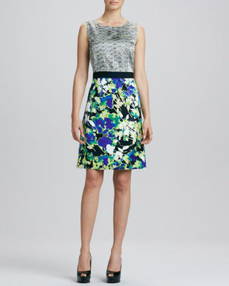 T Tahari Anita Mix-Print Charmeuse Dress