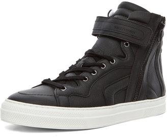 Pierre Hardy Paper Calf Hi Top Sneaker in Black