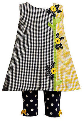 Bonnie Baby Newborn Ribbon Flower Seersucker Dress & Polka-Dot Knit Leggings