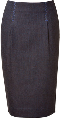 Sophie Theallet Chocolate/Blue Semi Worsted Pencil Skirt