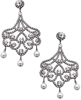 Kenneth Jay Lane Crystal Chandelier Clip On Earrings