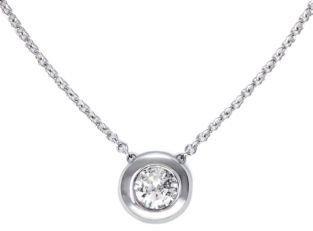 EFFY Classique 14 Kt White Gold Bezel Set Diamond Pendant Necklace