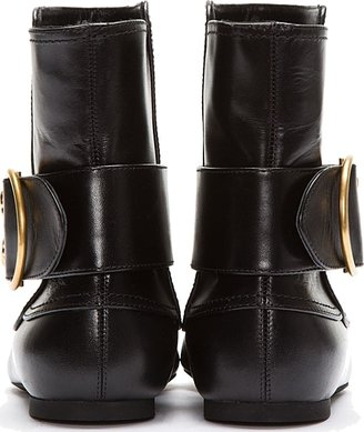 Alexander McQueen Black Leather Skull Buckled Ankle Boots