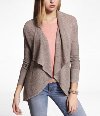 Express Marled Long Sleeve Cascading Cover-Up Sweater
