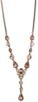 Givenchy Necklace, Rose Gold-Tone Silk Crystal Y Necklace