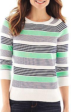 Liz Claiborne 3/4-Sleeve Crewneck Striped Sweater