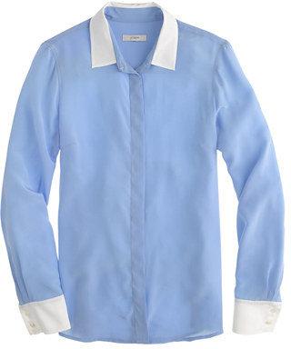 J.Crew Silk boy blouse with contrast trim