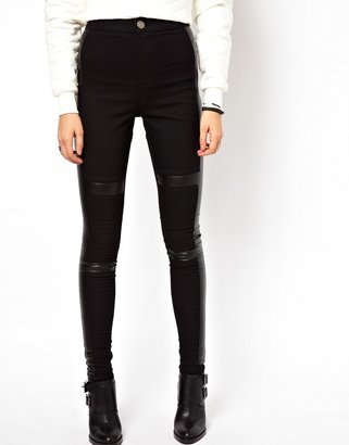 Asos Leather Look Panelled Denim Jegging