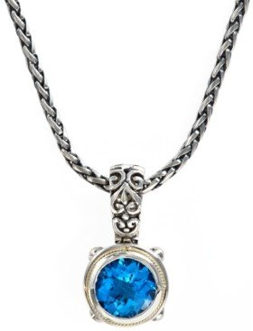 Effy Balissima by Blue Topaz Round Pendant (5-3/4 ct. t.w.) in 18k Gold and Sterling Silver