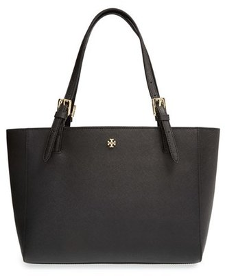Tory Burch 'Small York' Saffiano Leather Buckle Tote - Black $245 thestylecure.com