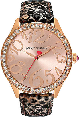 Betsey Johnson Rose Gold Watch With Snake Print Band