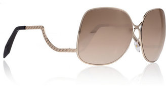 Victoria Beckham Square-frame 18-karat rose gold-plated sunglasses