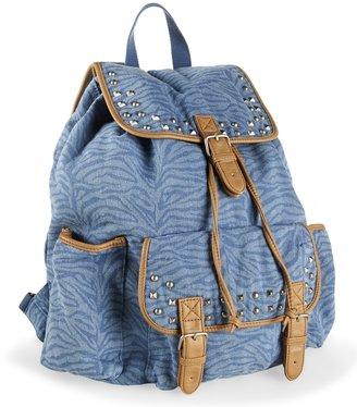 Aeropostale Studded Zebra Denim Backpack
