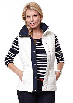 Nautica Solid Vest With Contrast Collar And Buttons