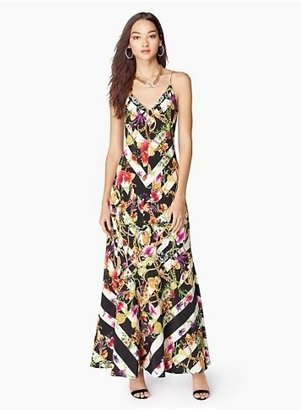 Juicy Couture Trellis Striped Silk Maxi Dress in Black