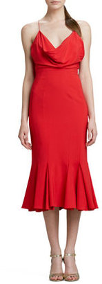 Zac Posen Cowl-Neck Flared Midi Cocktail Dress