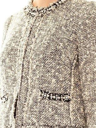 Rebecca Taylor Embellished-neckline tweed jacket