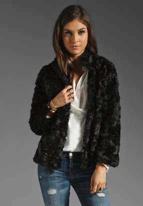 7 For All Mankind Cropped Faux Fur Jacket