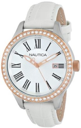 Nautica Women's N12653M BFD 101 Swarovski Crystal-Accented Stainless Steel Watch with White Leather Band $125 thestylecure.com