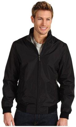 Perry Ellis Polyester Ribbed Knit Trim Jacket (Black) - Apparel