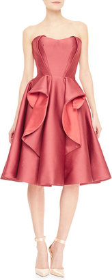 Zac Posen Strapless Satin Ruffle Flared Cocktail Dress, Rose