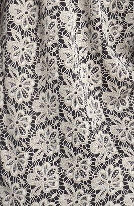 Vince Camuto Split Neck Lace Print Blouse