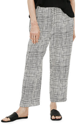Eileen Fisher Petite Grid Textured Crepe Slouchy Cropped Pants