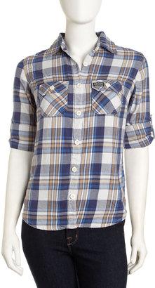 Superdry Lumberjack Plaid Pocket Button-Down Top, Safe Blue