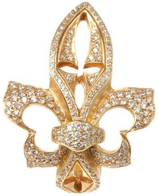 Loree Rodkin yellow gold sideways diamond fleur-de-lis ring