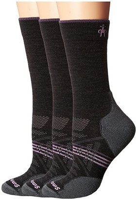 Smartwool PhD Outdoor Light Crew 3-Pack (Charcoal) Women's Crew Cut Socks Shoes