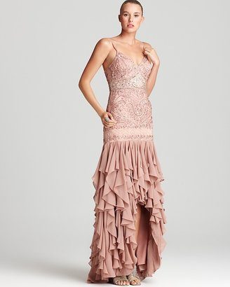 Sue Wong Beaded Gown - Spaghetti Strap High Low