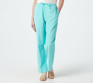 Denim & Co. Regular Classic Waist Drawstring Gauze Pants