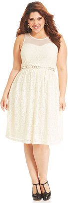American Rag Plus Size Dress, Sleeveless Lace Illusion A-Line