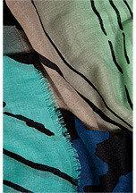 Diane von Furstenberg Wool-Silk Hanovar Scarf in Tiger Tree Gradient Teal