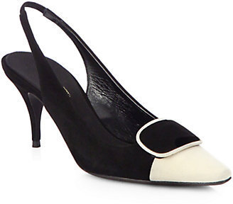 Giambattista Valli Two-Tone Suede Slingback Pumps
