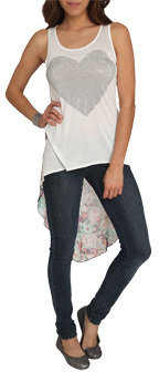 Wet Seal WetSeal Extreme High-Low Floral Tank Ivory
