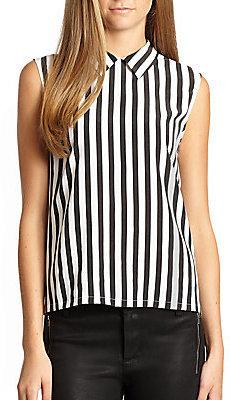 Equipment Elliot Silk Striped Sleeveless Shirt