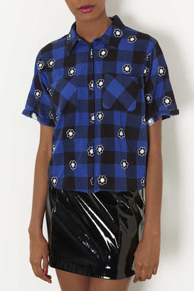Topshop Flower Check Embroidery Shirt