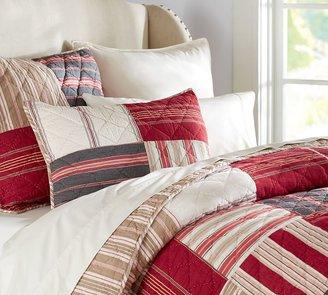 Pottery Barn Multi Stripe Patchwork Quilt & Sham