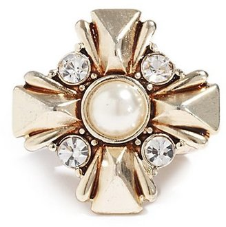 GUESS Gold-Tone Cross Stretch Ring